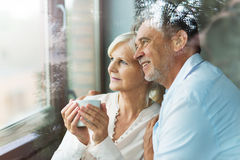 Senior couple at home. Loving senior couple at home Stock Photography