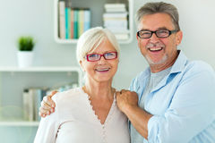 Senior couple at home. Smiling Stock Image