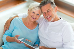 Senior couple at home. Smiling Stock Photo