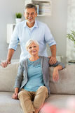 Senior couple at home. Smiling Stock Images