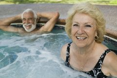 Senior Couple in Hot Tub portrait. Stock Photography