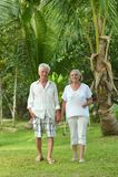 Senior couple at  hotel resort Stock Photos
