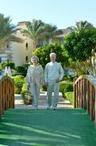 Senior couple at hotel resort Royalty Free Stock Image