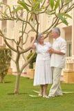 Senior couple  at hotel resort Royalty Free Stock Image