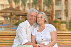 Senior couple  at hotel resort Stock Photo