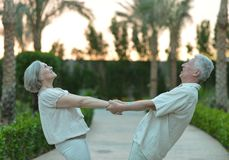 Senior couple at hotel resort Stock Images