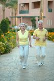 Senior couple at hotel resort Royalty Free Stock Images