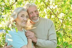 senior couple hugging Stock Images