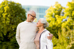 Senior couple hugging in city park Royalty Free Stock Photography