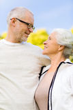 Senior couple hugging in city park Royalty Free Stock Images