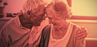 Senior couple hugging each other. In a retirement home royalty free stock images