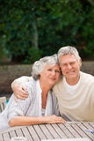 Senior couple hugging in the garden Royalty Free Stock Image