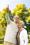 Senior couple hugging in park Royalty Free Stock Photo