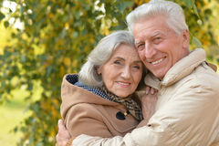 Senior couple hugging  in the park Royalty Free Stock Images
