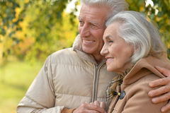 Senior couple hugging  in the park Stock Photo