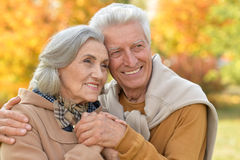 senior couple hugging  in the park Royalty Free Stock Photos