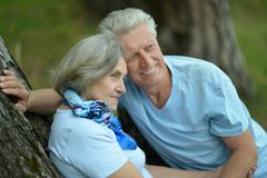 Senior couple  hugging in the park Royalty Free Stock Image