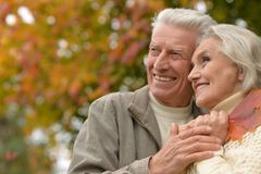 Senior couple hugging   in the park Stock Photos