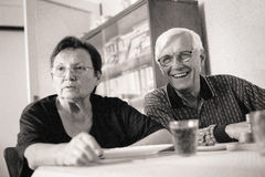Senior couple indoors Royalty Free Stock Images
