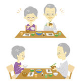 Senior couple Japanese meal Royalty Free Stock Photos