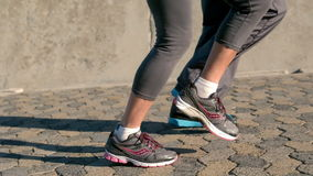Senior couple jogging legs only stock video