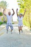 Senior couple jumping Royalty Free Stock Photography