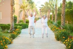 Senior couple jumping Royalty Free Stock Image