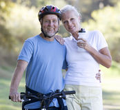 A senior couple keeping fit royalty free stock image