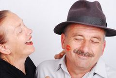 Senior couple kiss situation royalty free stock images