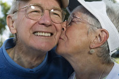 Senior Couple Kissing Royalty Free Stock Photography