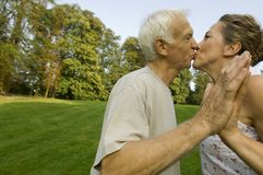 A senior couple kissing. Stock Photo