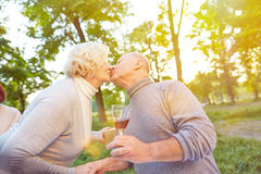 Senior couple kissing at birthday party Royalty Free Stock Photo