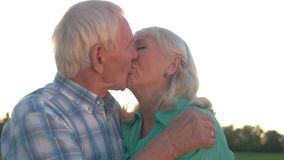 Senior couple kissing. stock video footage