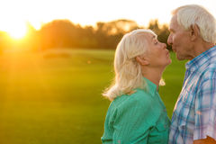Senior couple kissing. Man and women outdoor. Give me a kiss. So kind and cute Royalty Free Stock Photos