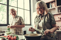 Senior couple in kitchen. Beautiful senior couple is smiling while cooking together in kitchen Royalty Free Stock Photography