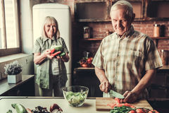 Senior couple in kitchen royalty free stock photography