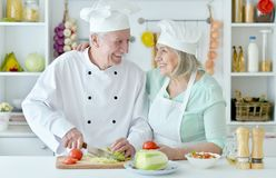 Senior couple at kitchen  cooking. Portrait of senior couple at kitchen cooking Royalty Free Stock Photography