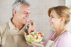 Senior Couple in the kitchen Stock Photography