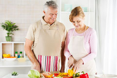 Senior Couple in the kitchen Stock Image