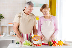 Senior Couple in the kitchen Royalty Free Stock Photos
