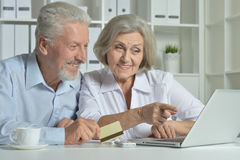 Senior couple with laptop and business card Royalty Free Stock Photography