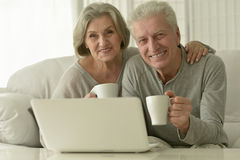 Senior couple  with laptop. Portrait of a senior couple with laptop Royalty Free Stock Image