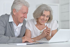 Senior couple  with laptop Stock Photo