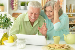 Senior couple  with laptop Royalty Free Stock Photos