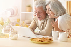 Senior couple  with laptop Royalty Free Stock Image
