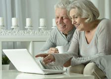 Senior couple  with laptop Stock Photography