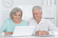 Senior couple  with laptop. Portrait of a senior couple working with laptop Royalty Free Stock Image