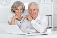 Senior couple  with laptop. Portrait of a senior couple working with laptop Stock Image