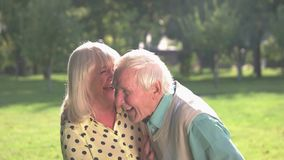 Senior couple is laughing. stock video