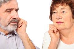 Senior couple leaned on hand Royalty Free Stock Photo